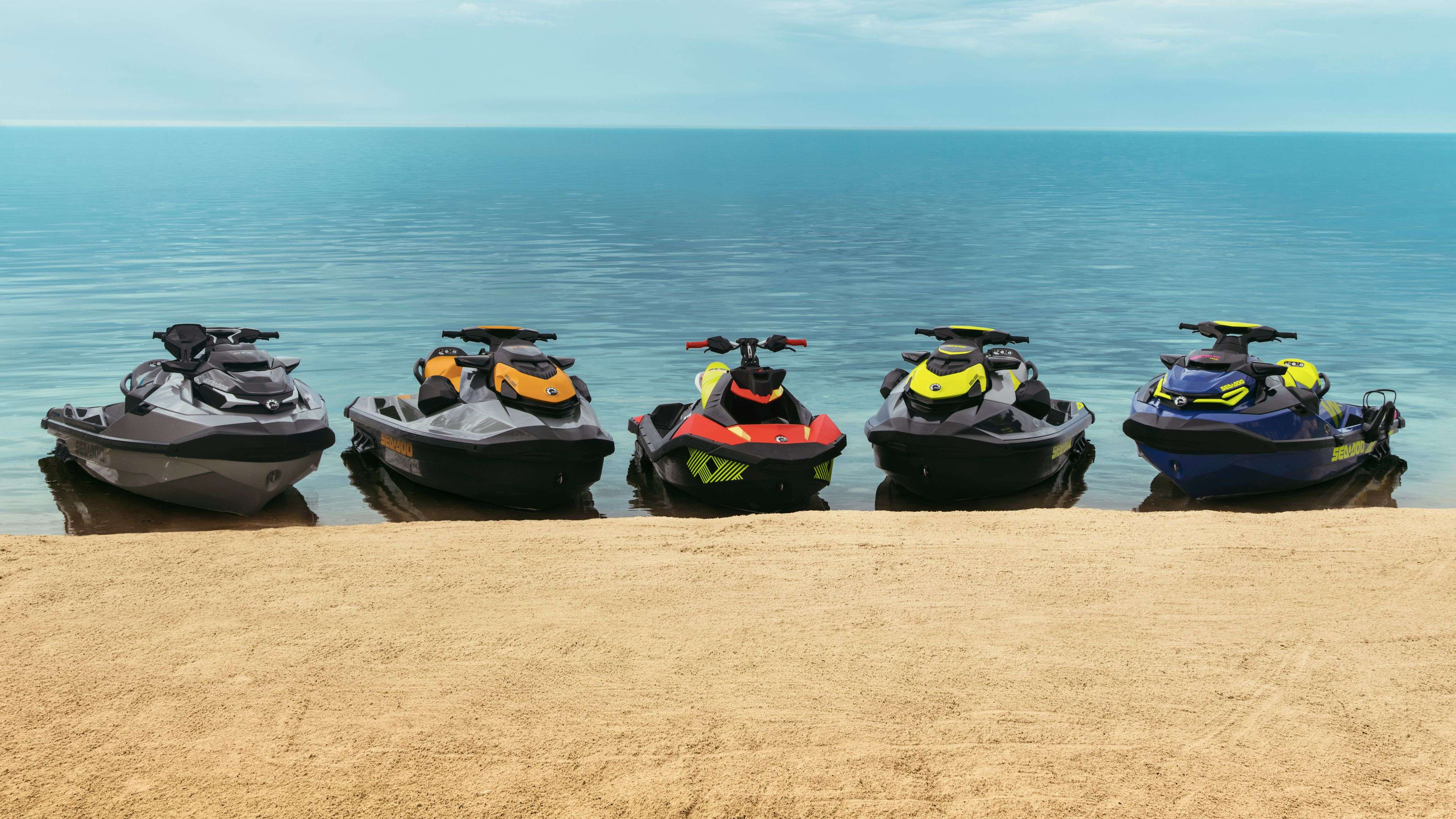 2020 Sea-Doo lineup on the beach
