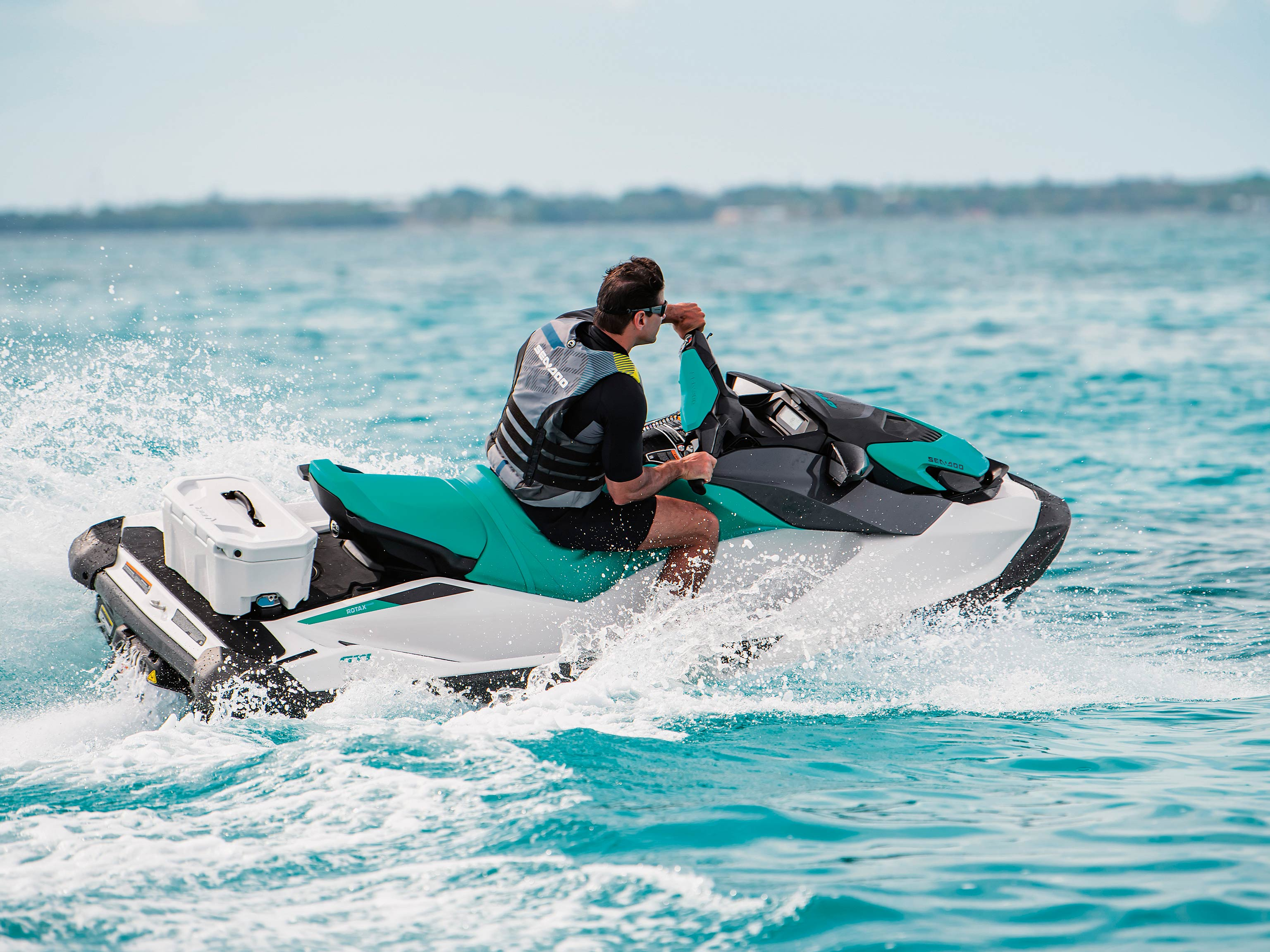 Man riding a Sea-Doo GTI