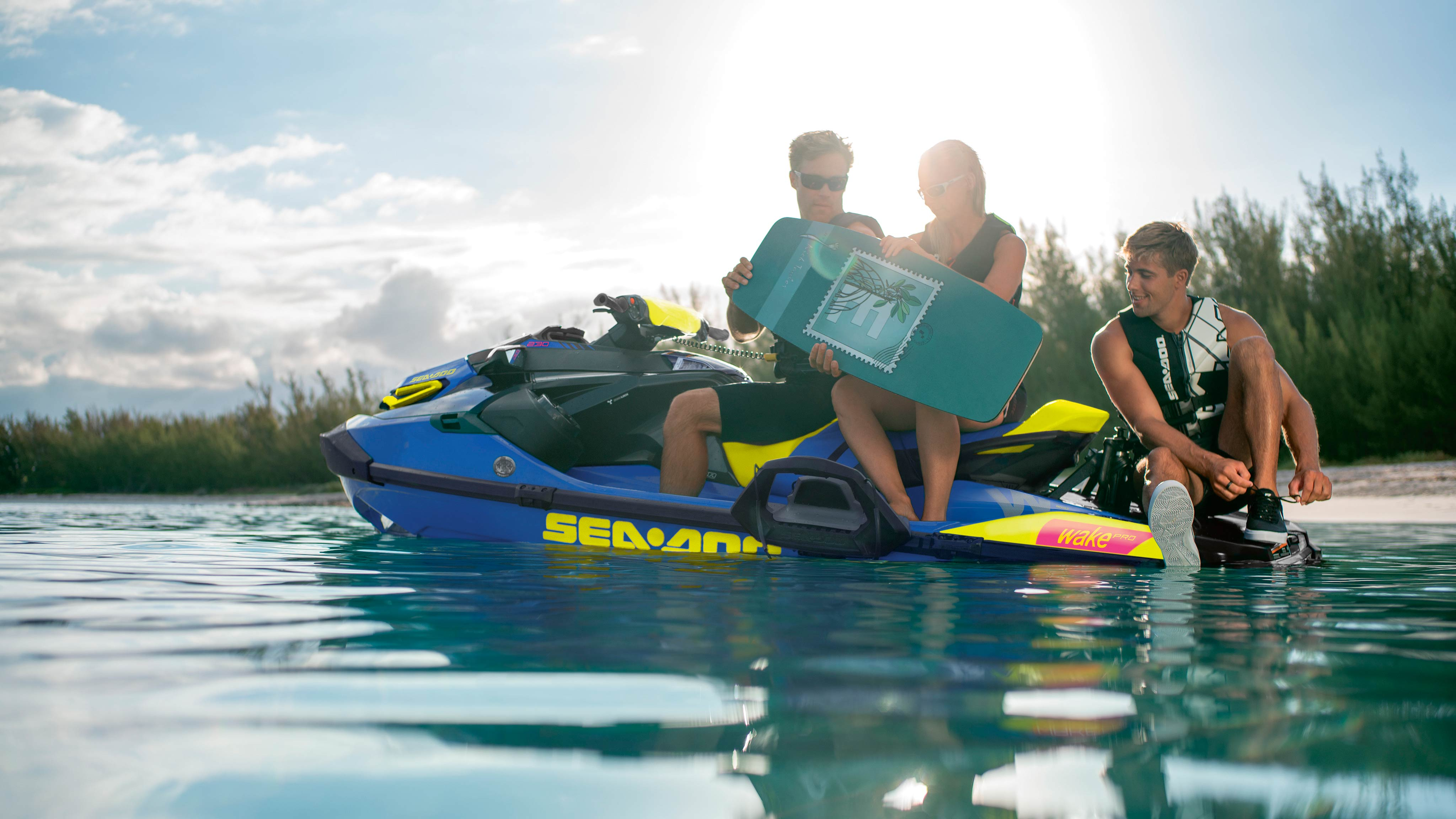 Friends on Sea-Doo WAKE PRO preparing for a wake session