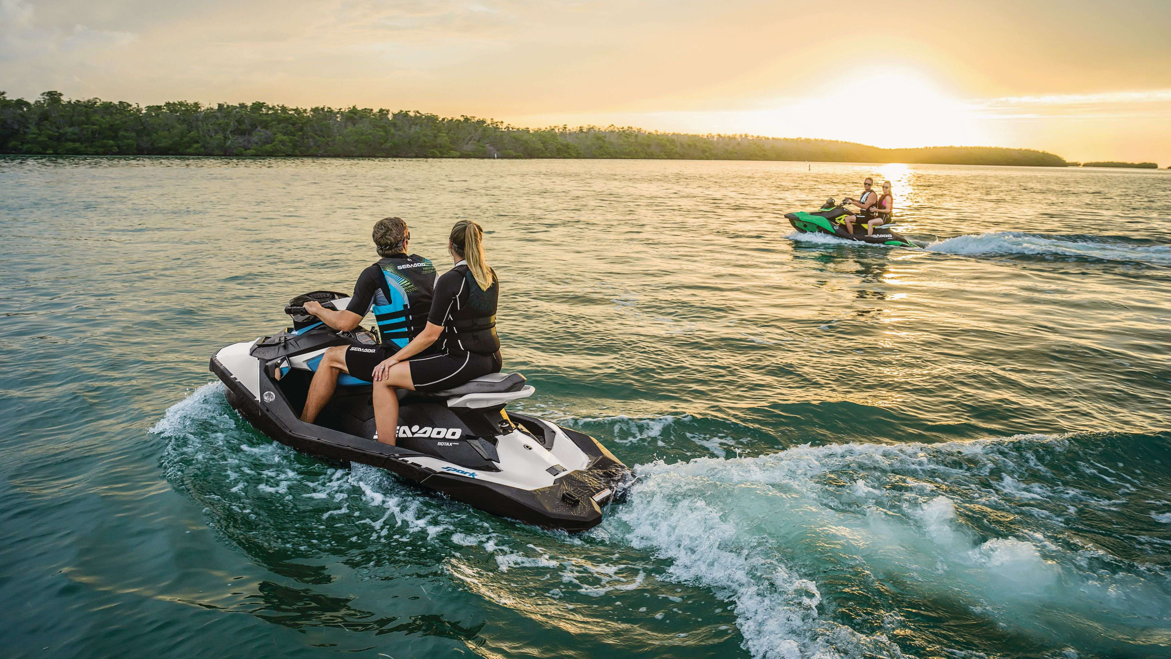 Family riding on a Sea-Doo