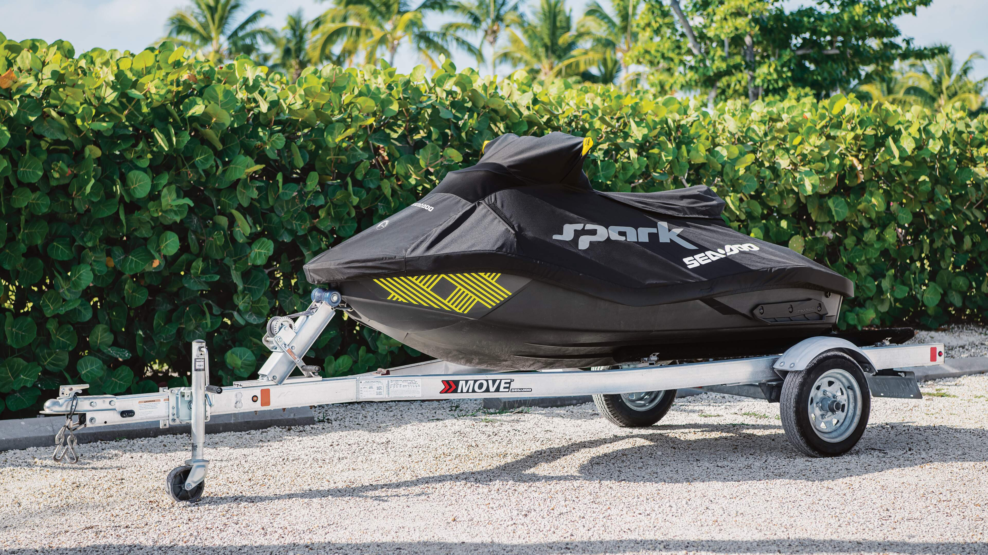 Sea-Doo Spark under a cover and on a trailer