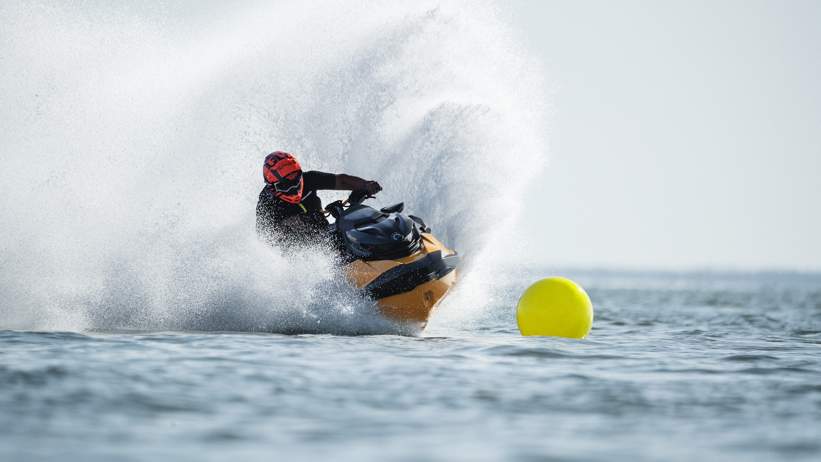 Man racing a Sea-Doo RXP-X with a new handlebar