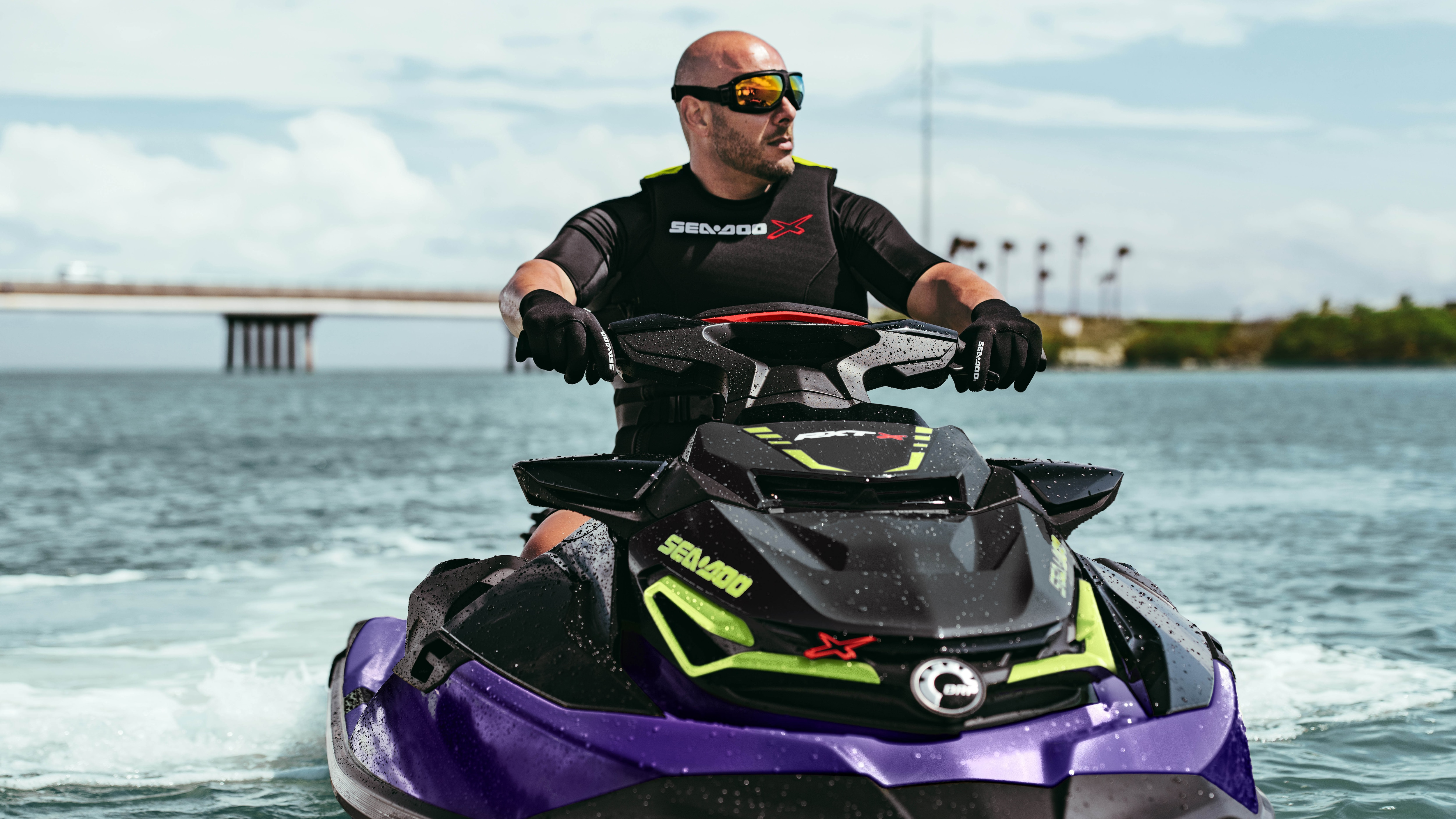 Man riding a Sea-Doo RXT-X with ergolock seat