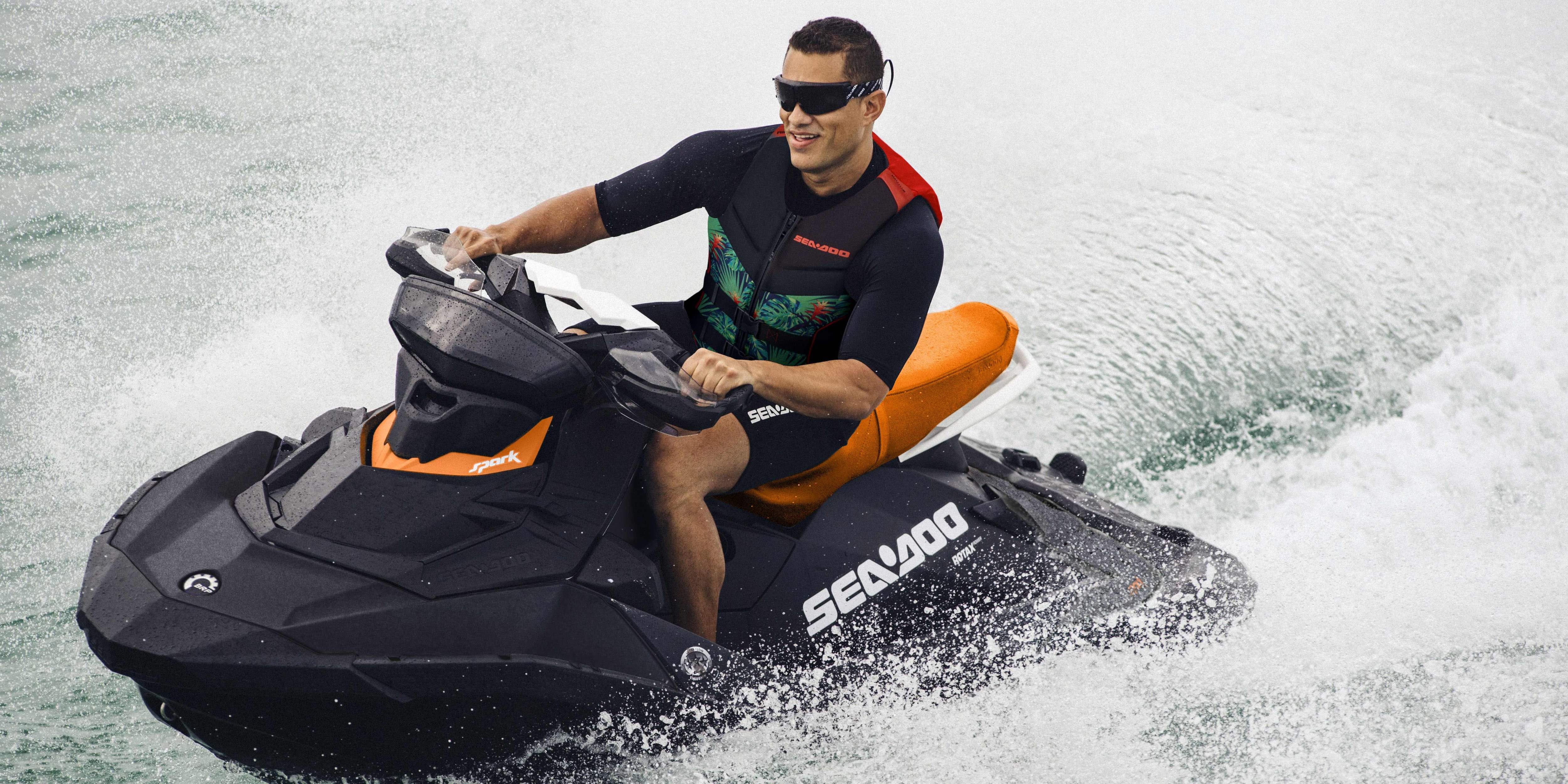 Man riding a Sea-Doo Spark with IBR feature