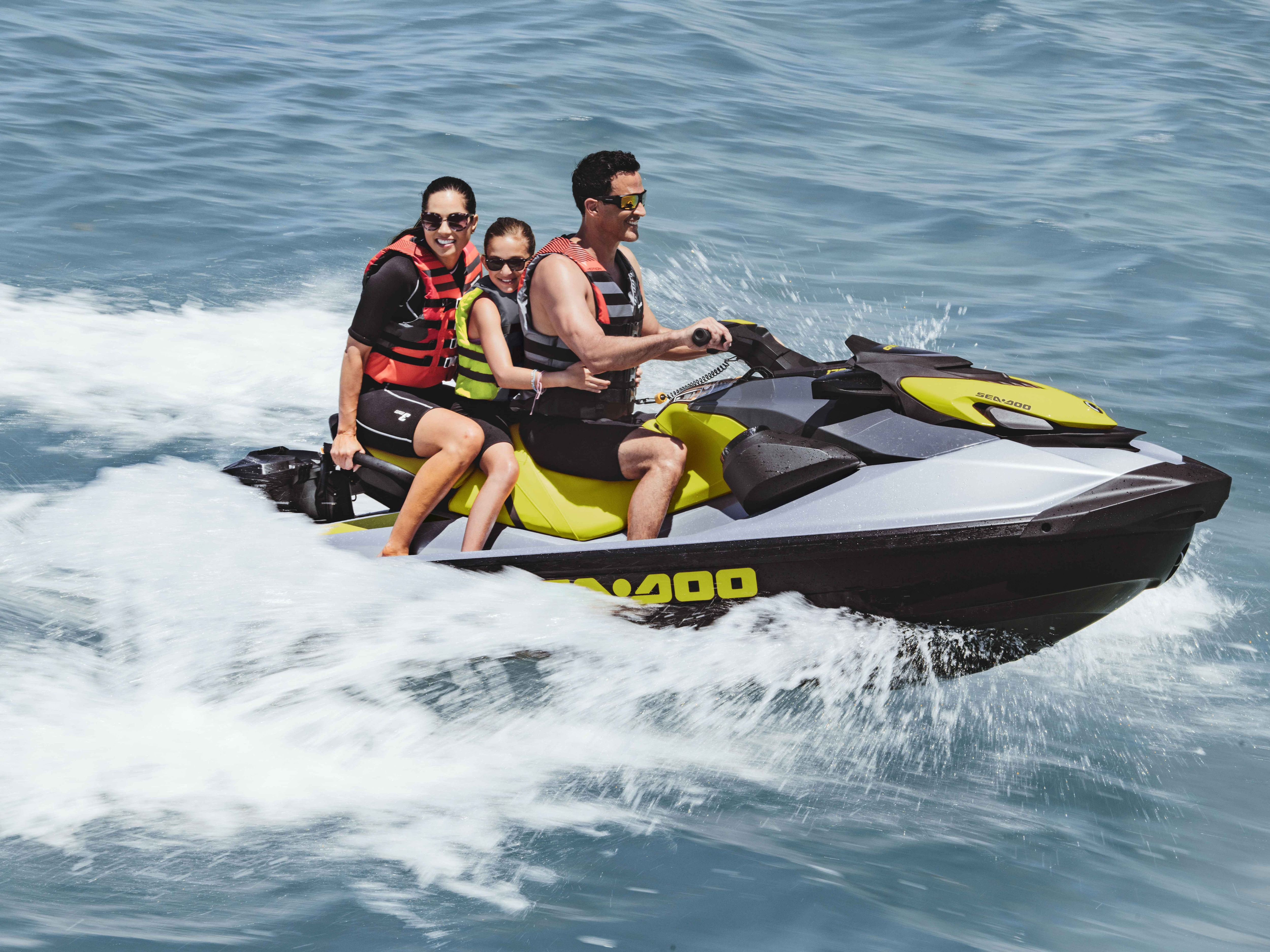 Family enjoying their ride on a Sea-Doo
