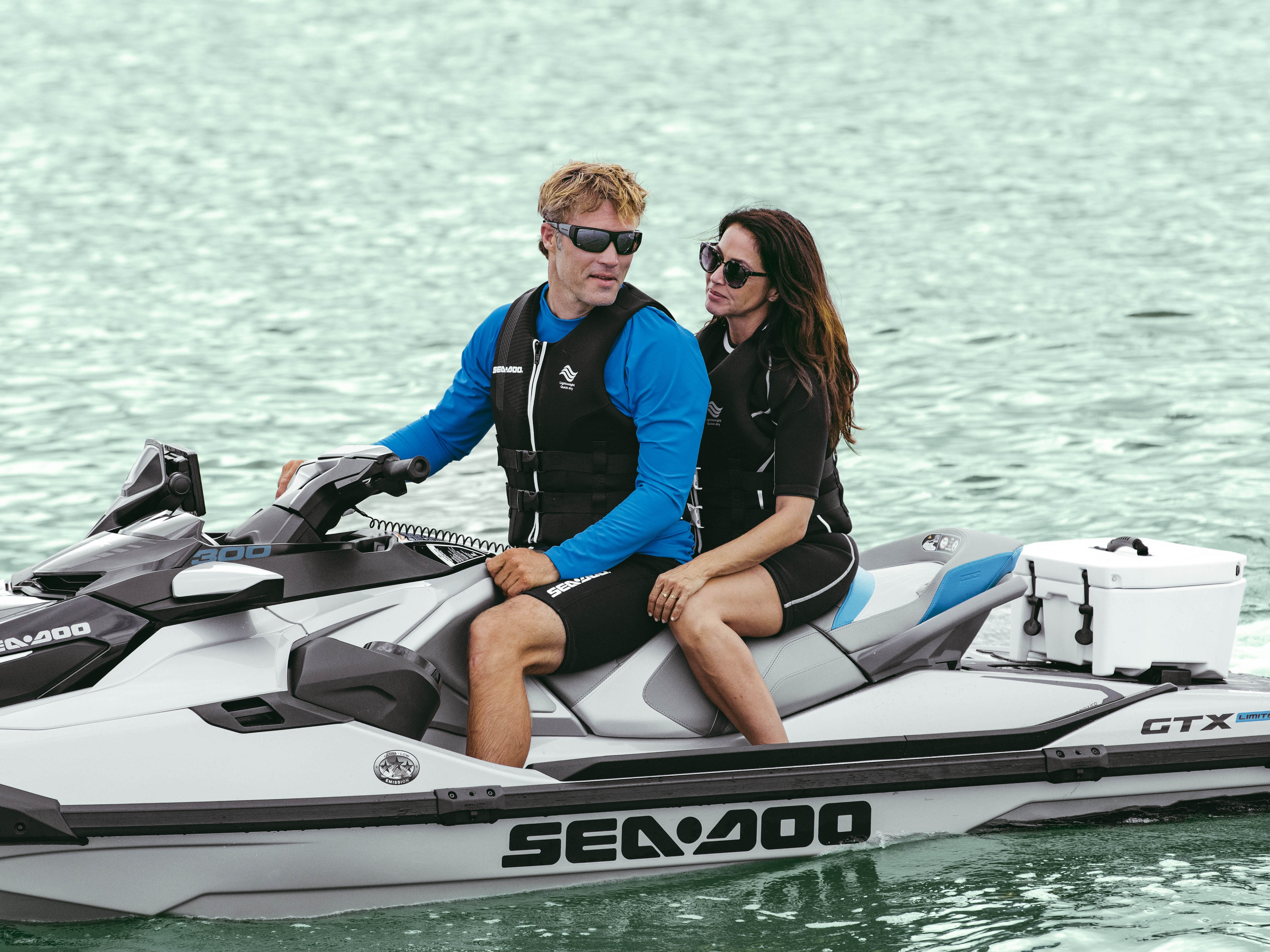 Couple having a fun ride on a Sea-Doo GTX Limited