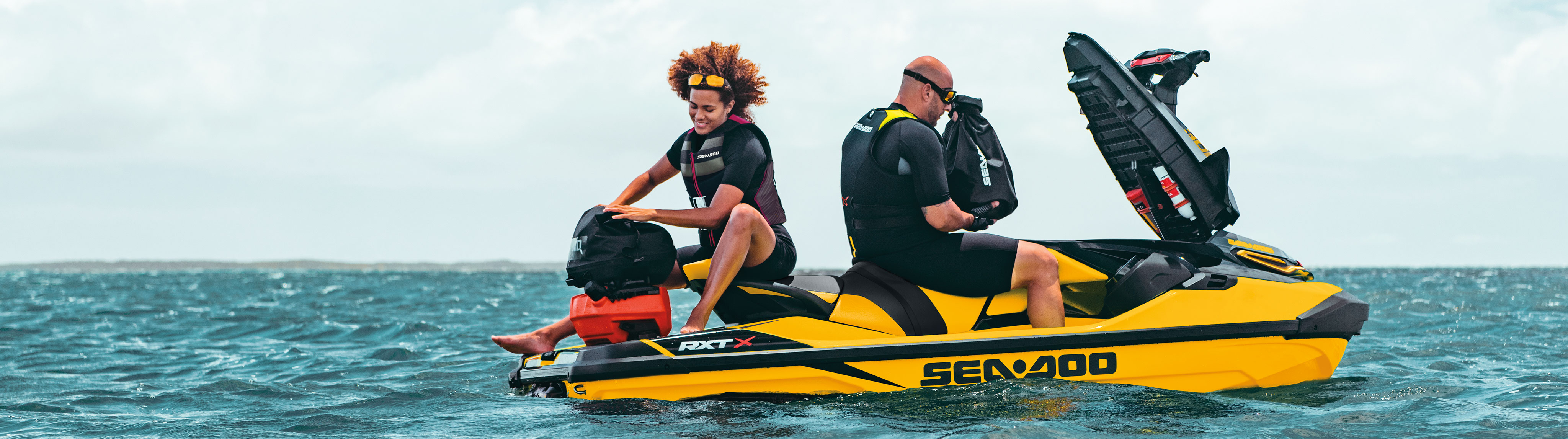Couple on a Sea-Doo RXP-X with LnQ Accessoires