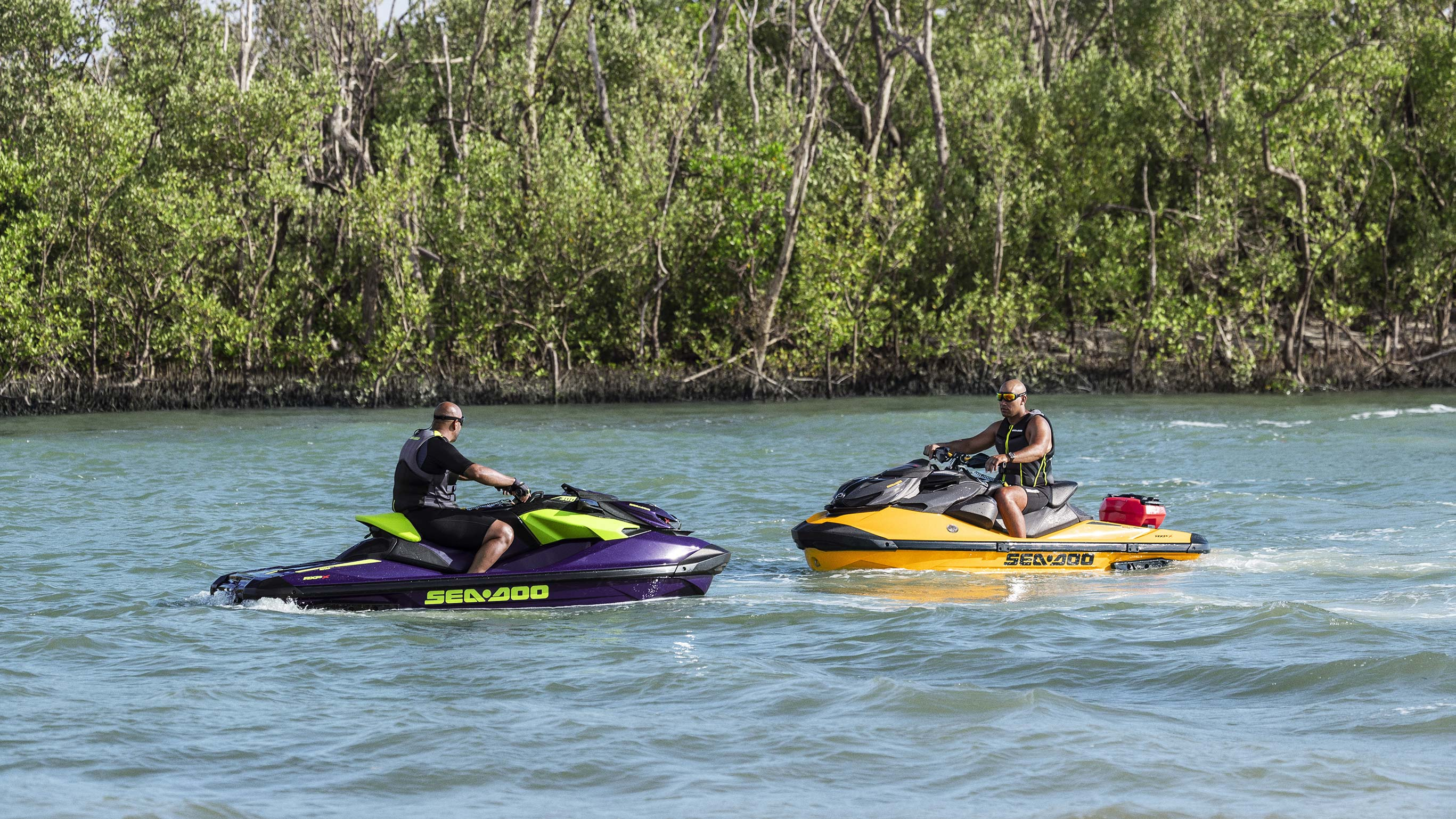 Two Sea-Doo RXP-X face to face