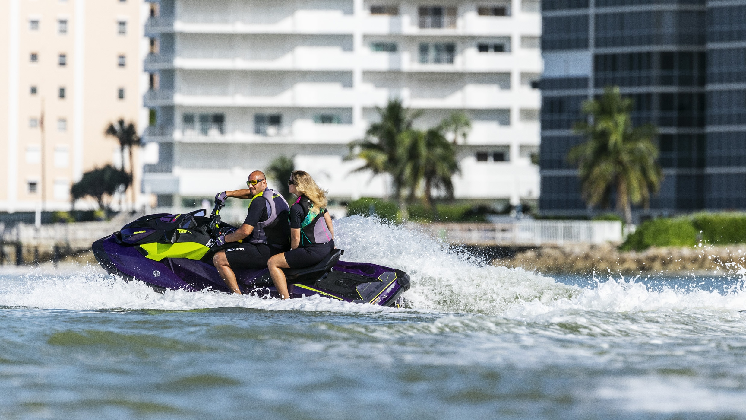 Couple carving with a Sea-Doo Watercraft